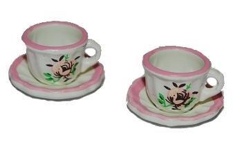 alles-meine.de GmbH 2 Teller mit Tasse Becher Kaffeetasse Teetasse Kaffeebecher 4 TLG.Blumenmotiv - Puppenstube Küche - Maßstab 1:12