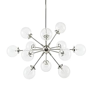 Ink+Ivy Paige Twelve Modern Chandeliers-Height Adjustable, Plated Finish, Glass Sphere Shades Pendant Sputnik Ligthing Lamp Ceiling Dining Room Lighting Fixtures Hanging, LED Compatible, Silver (B077KH6ZBQ) | Amazon price tracker / tracking, Amazon price history charts, Amazon price watches, Amazon price drop alerts