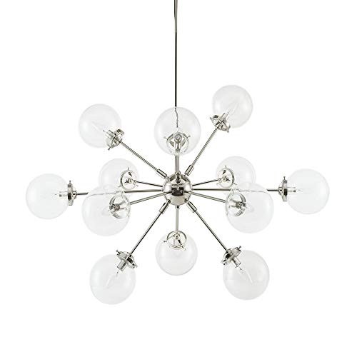 Ink+Ivy Paige Twelve Modern Chandeliers-Height Adjustable, Plated Finish, Glass Sphere Shades Pendant Sputnik Ligthing Lamp Ceiling Dining Room Lighting Fixtures Hanging, LED Compatible, Silver