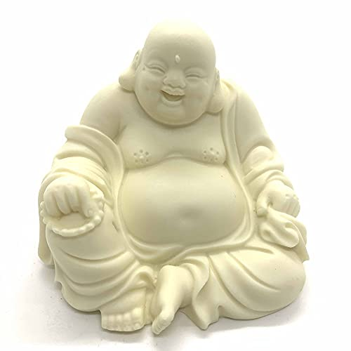 Buddha Statue for Home and Garden,2.8' Laughing Buddha Statue,Ivory Finish Seated Statue,Collectibles and Figurines,Desk Decor Zen Decor Garden Decor,Pray for Blessing.