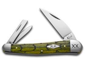 CASE XX Tortoise Shell Olive Green Seahorse Whittler 1/500 Stainless Pocket Knife Knives