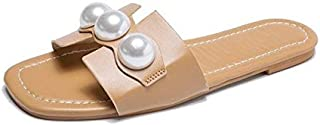 Female Beach Flip Flops Sexy Lady Women Female Summer Pearly Peep Toe Hollow Out Slides Casual Flat Sandal Slippers Shoes (Color : Apricot, Shoe Size : 9)