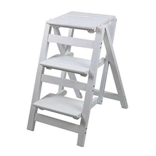Küchen-Tritthocker, 3 Stufen, Holz, für Erwachsene, zusammenklappbare Leiter, Hocker, Sitzleiter, Pflanzenständer für Küche, Wohnzimmer, Schlafzimmer, Balkon, Garten, Schuhregal, weiß