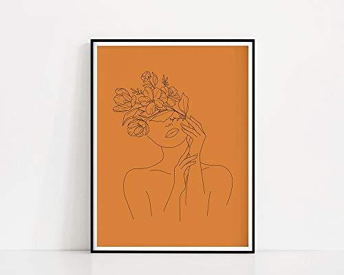 Blumenfrau Kunstdruck|Brennende orange Linie Zeichnung Frau Frau mit Blumenkopf Minimale Linie Kunst Familie Rahmenlose dekorative Malerei A18 40x60cm