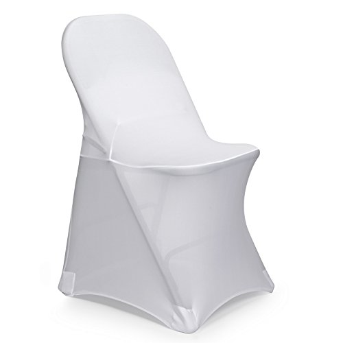 Lann's Linens 50 pcs White Spandex Folding Chair Cover for Wedding, Party and Banquet