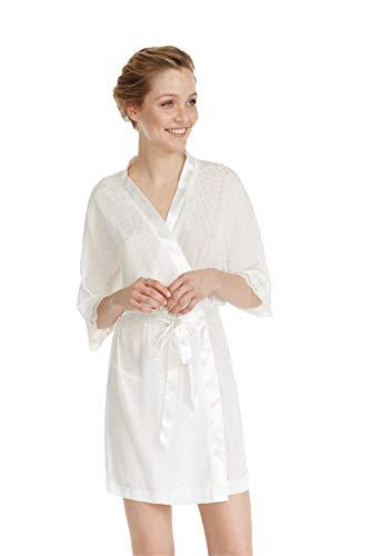PROMISE korte bruiloft Kimono in Tulle met bijpassende Micro Polka stippen patroon. Ideaal voor de ochtend van de bruiloft.