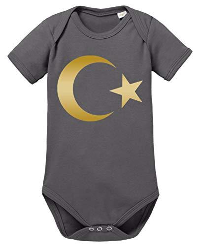 Comedy Shirts - Türkei Wappen - Baby Body - Dunkelgrau/Gold Gr. 68