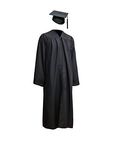 Robe Academicus Komplett-Set: akademischer Talar aus Funktionsfaser + Doktorhut mit Quaste und aktueller (!) Jahrgangszahl (S Small (Kleiner 165 cm Körperhöhe), Schwarz)