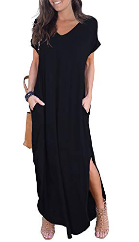 GRECERELLE Women's Casual Loose Pocket Long Dress Short Sleeve Split Maxi Dress Black L