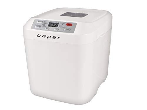 Beper BC.130 Panificadora automática, Máquina para hacer Pan, Gluten Free, 550 W, Recipiente antiadherente,12 Programas, Pantalla LCD,temporizador programable 13 horas, Blanco