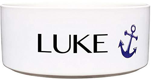 Cadouri Keramik Hundenapf ︎ personalisiert ︎ mit Name deines Hundes┊Futternapf Wassernapf (Anker) - 650 ml