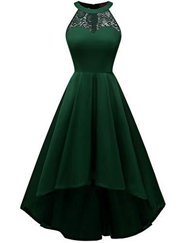 DRESSTELLS Damen 50er Vintage Rockabilly Kleid Neckholder Cocktailkleid Vokuhila Festliche Kleider für Hochzeit DarkGreen M