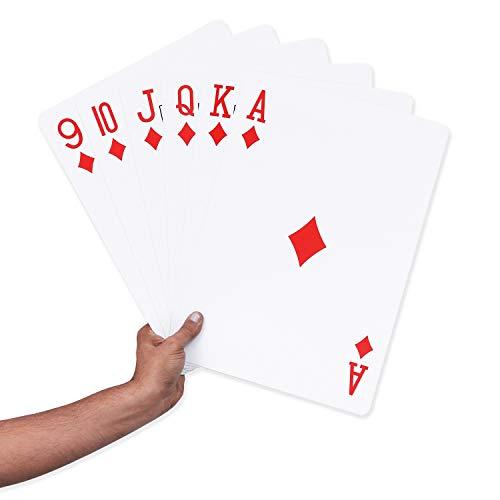 BELLE VOUS Große Spielkarten - 52 Jumbo Spielkarten mit 2 Joker (37 x 26cm) - Kunststoff Riesenkarten für Innen und Draussen, Garten Familie Spiele, Party Dekoration