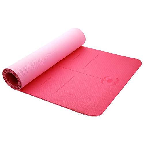 MH-RING Esterilla Yoga Antideslizante, Material Ecológico TPE Yoga Mat, Colchoneta de Ejercicios para el Hogar para Varios Ejercicios de Yoga 181 * 61 * 0.6CM (Color : Purple)