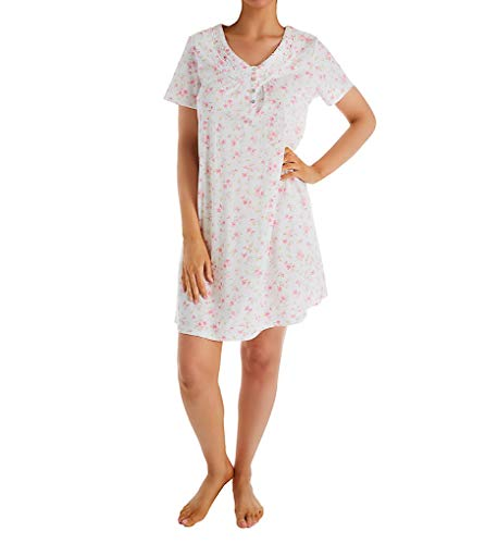 Carole Hochman Women's Short Sleeve Gown, Small Pink Floral