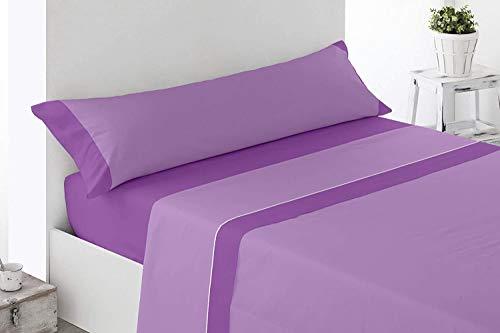 - Bicolor - Juego Sábanas Bicolor Verano Microfibra Sábana Bajera Ajustable 1 Funda Almohada y Encimera (135_x_200_cm, Morado - Malva)