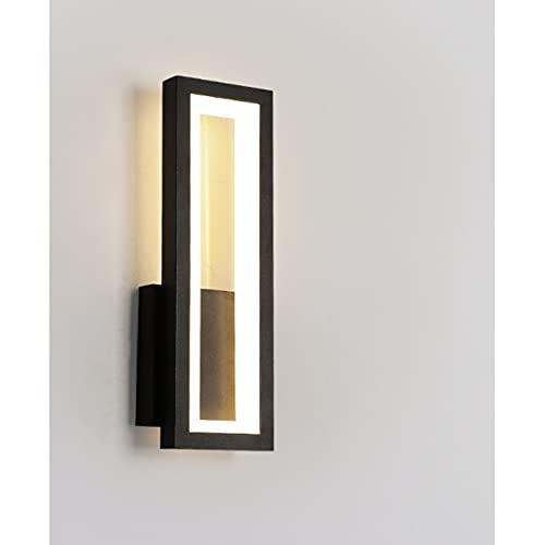 Apliques Pared Interior Dormitorio Pasillo,Lámparas De Pared Para Mesita De Noche,Iluminación De Salon 12 * 32 Cm Atenuación Continua Negra Barra Luminosa Rectangular Exterior