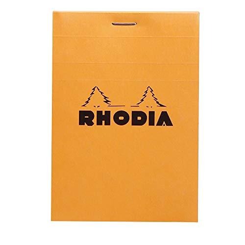 Rhodia 12200C - bloc agrafé en-tête de 80 feuillets détachables 8,5x12 cm 80g petits carreaux, couverture Orange
