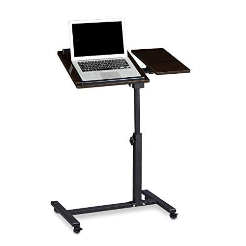 Relaxdays 10020396_46 Tavolino Portatile con Rotelle per Notebook Laptop, Legno, Nero, 40x60x95 cm