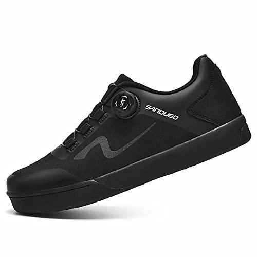 SANDUGO Mountainbike D/H SPD MTB Schuhe Convertible für Flat Pedals Schuhe Schwarz Size:EU42