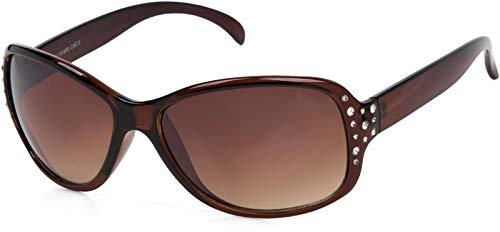 styleBREAKER Gafas de sol de mariposa para mujer con estrás y gradiente, forma de mariposa 09020054, color:Marco marrón / delineado de vidrio marrón