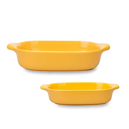 MDZF SWEET HOME Set of 2 Ceramic Baking Dish Set for Oven Roasting Lasagna Pan Large and Small Bakeware Set with Handle, Yellow