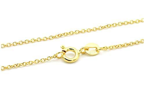 NaturSchatulle Fina cadena de plata de ley 925 collar sin colgante para mujer 55 cm I 1,2 mm cierre de anillo, cadena barbada