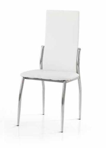 Legno&Design Lot de 2 chaises modernes en acier chromé pour bar, restaurant cuisine tapissée en simili cuir blanc