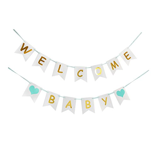 LOVELY BITON Tri-Color Welcome Baby Birthday Banner Baby Shower with Blue Heart for Kids Happy Birthday Party