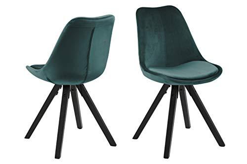 Amazon Brand - Movian Arendsee - Set da 2 sedie sala da pranzo, 55 x 48,5 x 85cm, verde