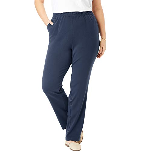 Woman Within Women's Plus Size Petite 7-Day Knit Straight Leg Pant - L, Navy