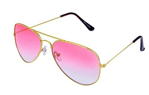 Unbekannt Sonnenbrille in verschiedenen Farbe (One size, Goldener Rahmen/Pink Gläser)