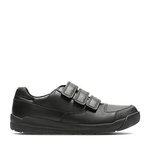 Clarks Monte école de garçons de Bootleg Lite chaussures en noir Black Leather 8 G