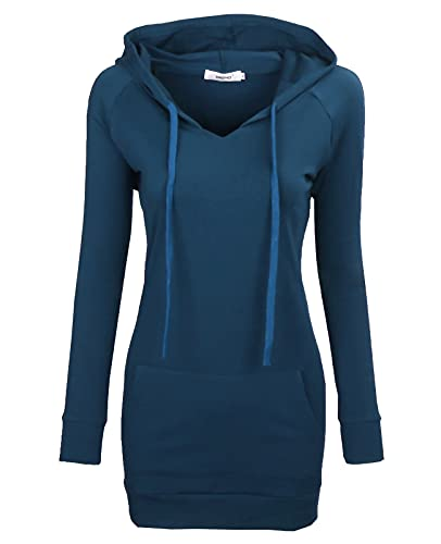 BEPEI Sweatshirts for Women,Long Sleeve Young Sports T-Shirt Strings Pullovers Hoodie V Neck Relaxed Fit Workwear Tunic Garment Cold Weather Thermal Knitwear Top Aqua L