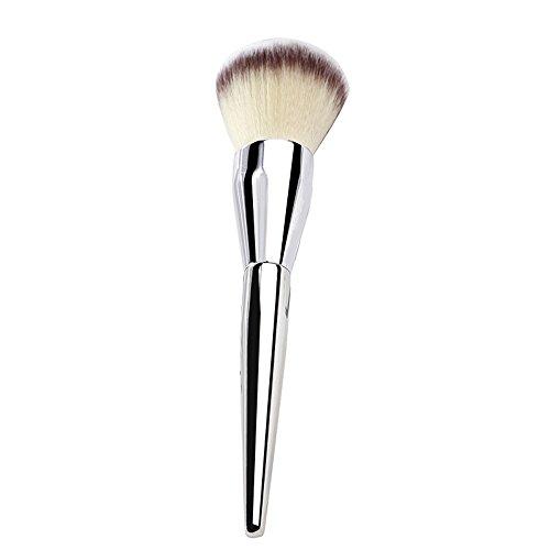 Grande brosse de poudre de fard à joues, brosse en vrac de poudre, poignée argentée poilue molle, 1 bâton facile à porter Fyxd