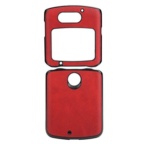 Handytasche, Handy-Schutzhülle Stoßfeste Handy-Lederhülle für Motorola Razr 5G(rot)