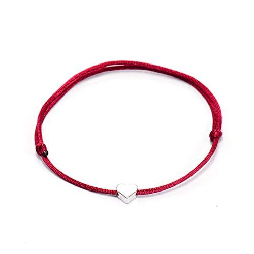 Baostic Armschmuck Lucky Crown Heart Bracelet for Women Men Multicolor Rope Adjustable String Bracelet DIY Handmade Family Friendship Gift Heart Wine red