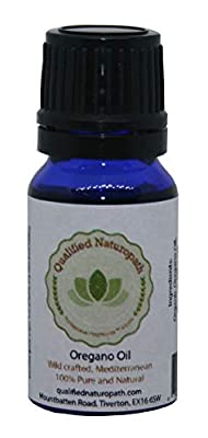 10ml Organic Oregano Oil in a blue bottle with a dropper insert by Qualified Naturopath