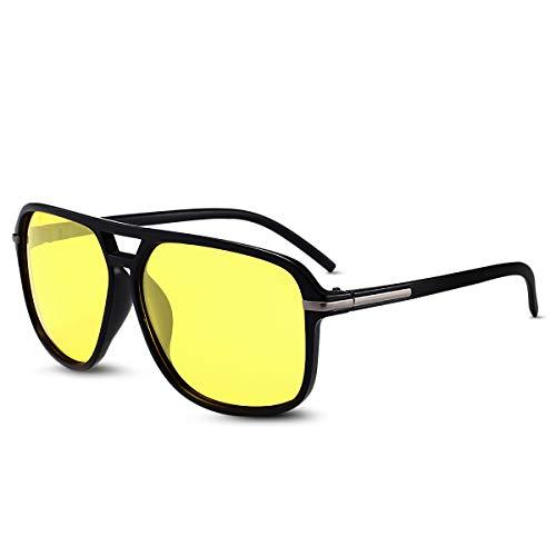 LumiSyne Gafas De Sol Polarizadas Hombre Gafas De Visión Nocturna Conducción Deportes Súper Ligero Marco Cuadrado Doble Puente UV 400 Al Aire Libre Viajar Caja De Regalo Amarillo