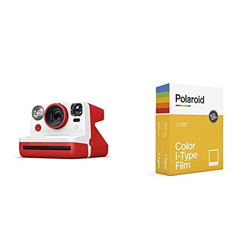 Polaroid - 9032 - Polaroid Now Cámara instantánea i-Type Rojo + Película instantánea Color para i - Type - Pack Doble, 6009