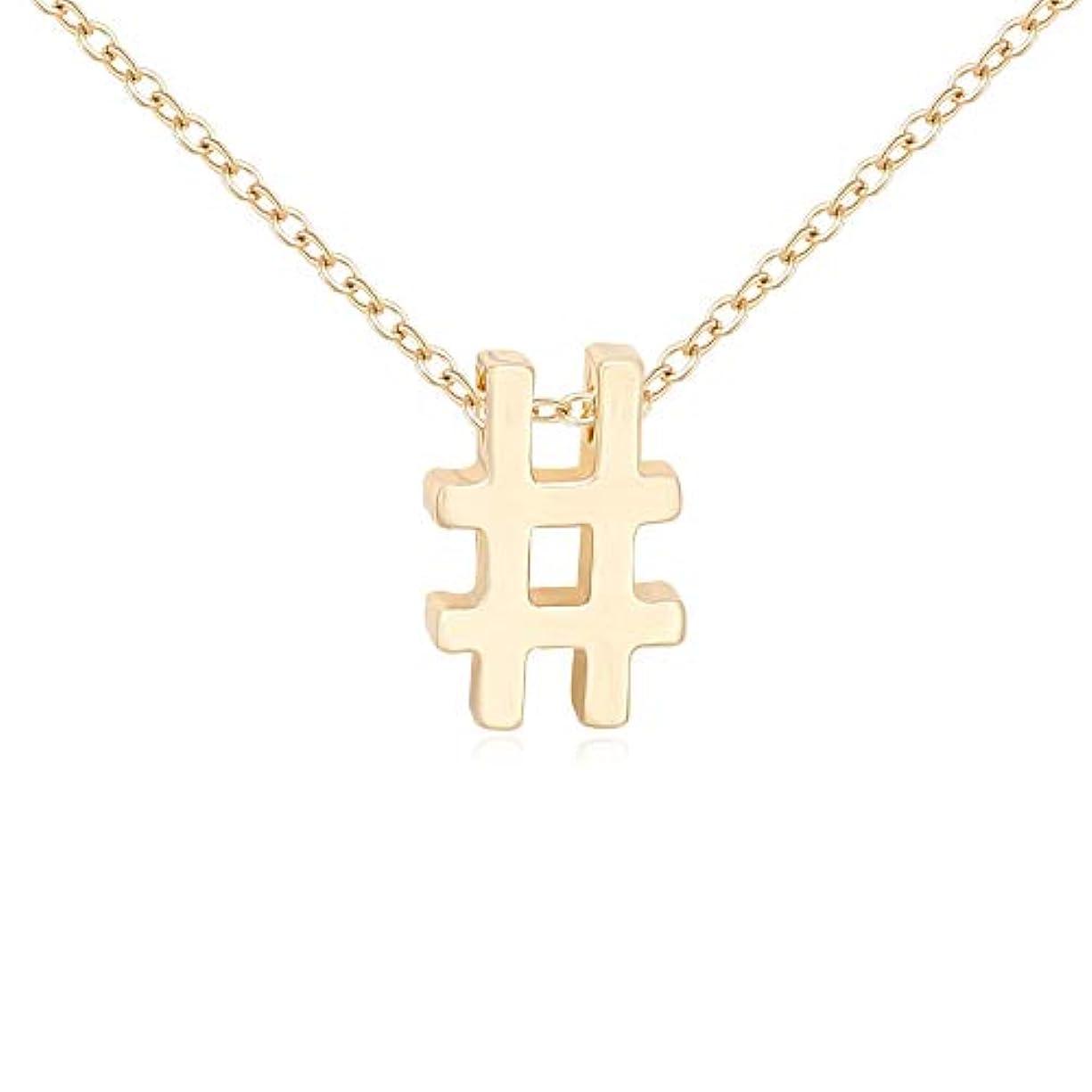 MANZHEN 3 Colors Petite # Hashtag Pendant Necklace