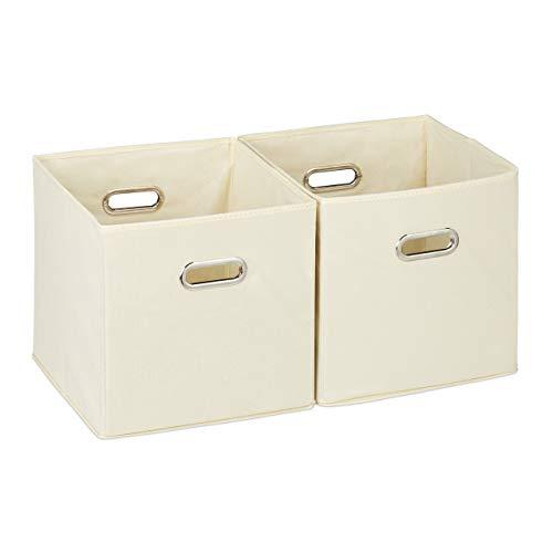 Relaxdays, beige Aufbewahrungsbox 2er Set, Regalkorb ohne Deckel, mit Griff, faltbar, Stoffbox quadratisch, 30 cm, Polyester, Pappe, 30 x 30 x 30 cm, 2