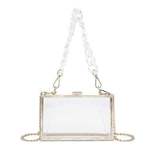 Women Clear Acrylic Box Clutch Crossbody Bag Transparent Purse for Concert, NFL & PGA Stadium Approved with Detachable Gold Chain Strap & Clear Resin Short Handle Strap