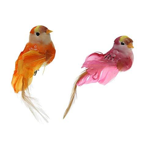 niawmwdt 2X Vivid Statues Animales Petit Oiseau en Plein Air Jardin Prairies Arbre Debout Pelouse Ornement Photographie Accessoires Décor À La Maison Cadeaux, Clips
