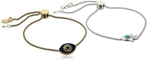 Lucky Brand Women's Hamsa and Evil Eye Two Tone Best Friends Bracelet Set, One Size