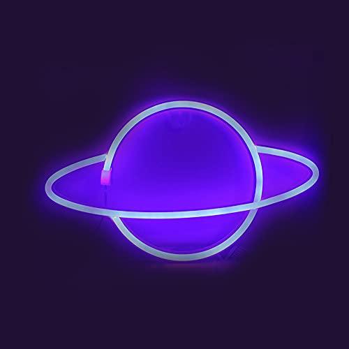 Planet - Lámpara de neón LED con forma de planeta, 3D, USB, funciona con pilas, luces nocturnas para habitaciones infantiles, dormitorios, fiestas de cumpleaños, bares, decoración de bodas (azul)