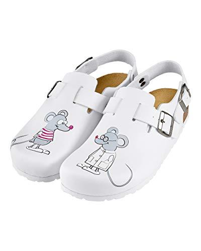 CLINIC DRESS Clog - Clogs Damen bunt weiß Motiv. Schuhe für Krankenschwestern, Ärzte oder Pflegekräfte weiß, Mäuse 39