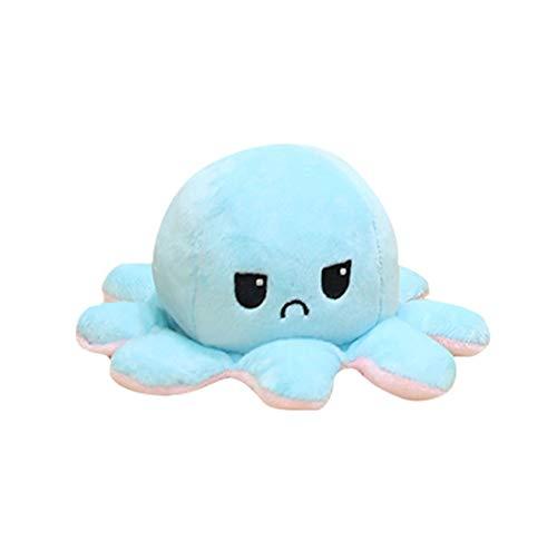 タコ ぬいぐるみ 裏返し 20cm リバーシブル プレゼント ギフト おもちゃ 誕生日 怒る顔も笑い顔も 面白い (ピンクxブルー)