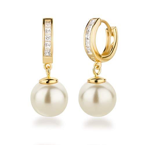 Schöner-SD 925 Silber vergoldet Creolen Ohrhänger mit 10mm Perle Kugel cremeweiß