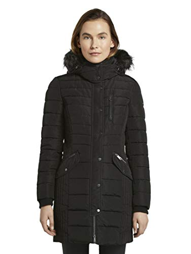 TOM TAILOR Damen Jacken & Jackets Langer Puffermantel mit Kapuze Deep Black,M